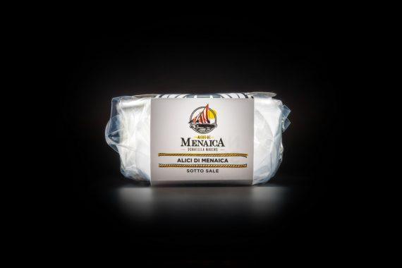 Alici di Menaica sotto sale Presidio Slow Food in ceramica con disco a discesa in legno 500 gr. 1