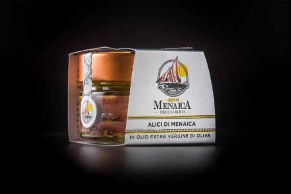 Alici di Menaica Presidio Slow Food in olio extravergine di oliva confezione in vetro da 120 gr.