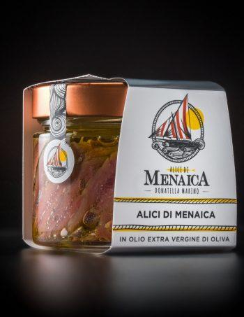 Alici di Menaica Presidio Slow Food in olio extravergine di oliva confezione in vetro da 250 gr.