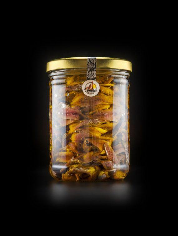 Alici di Menaica Presidio Slow Food in olio extravergine di oliva confezione in vetro da 800 gr.