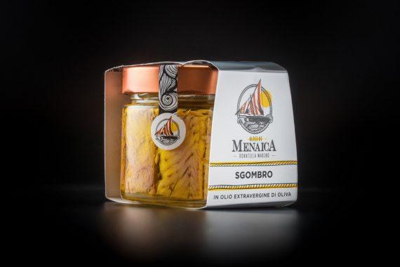 Filetti di Sgombro in vetro conservati in olio extravergine di oliva confezione da 250 gr.
