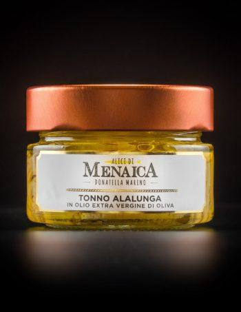 Tonno Alalunga in olio extravergine di oliva confezione in vetro da 120 gr.