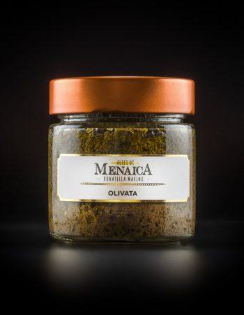 Olivata con Alici di Menaica, Colatura di Alici di Menaica, olive nere, capperi, aglio, aceto formato in vetro da 200 gr.