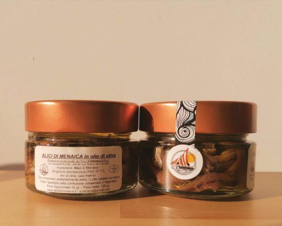 Pezzi di Alici di Menaica in olio di oliva Presidio Slow Food 120 gr.