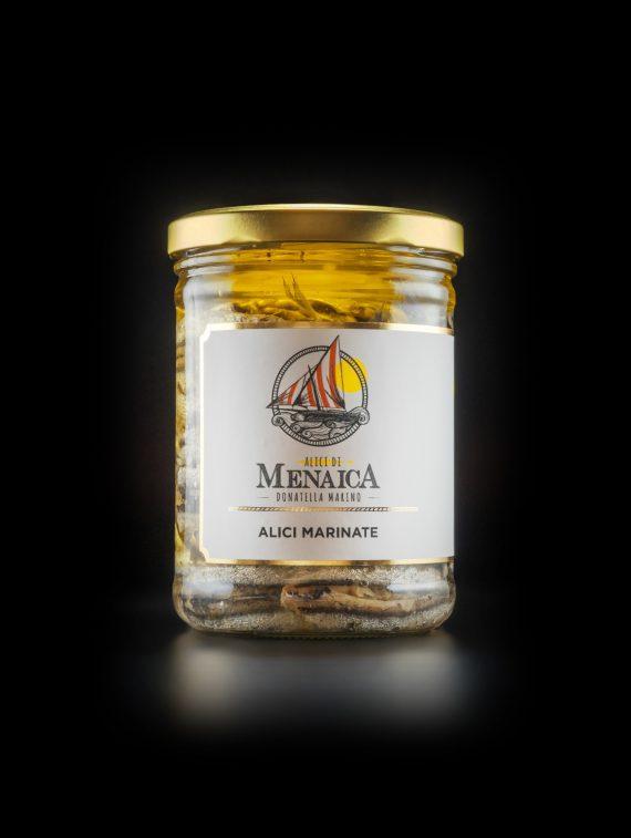 Alici di Menaica - Alici Marinate con origano ed aglio - confezione in vetro da 800 gr (1)